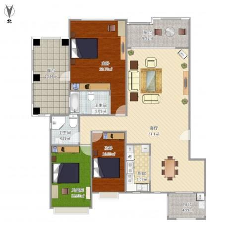 深业欧景城3室1厅2卫1厨192.00㎡户型图