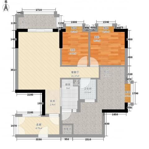 东江花苑2室1厅1卫1厨94.00㎡户型图