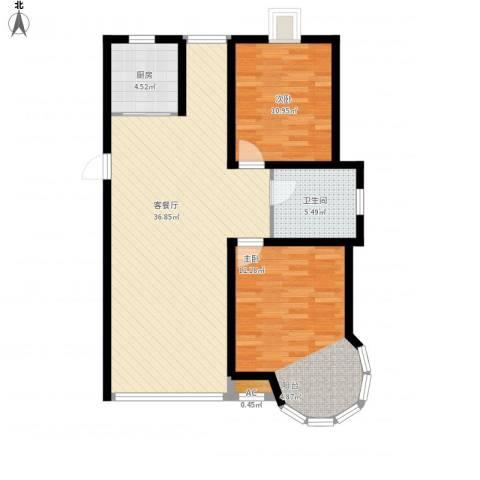 日月兴城2室1厅1卫1厨106.00㎡户型图