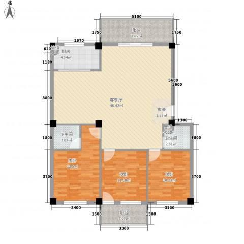 三秀新城3室1厅2卫1厨123.00㎡户型图