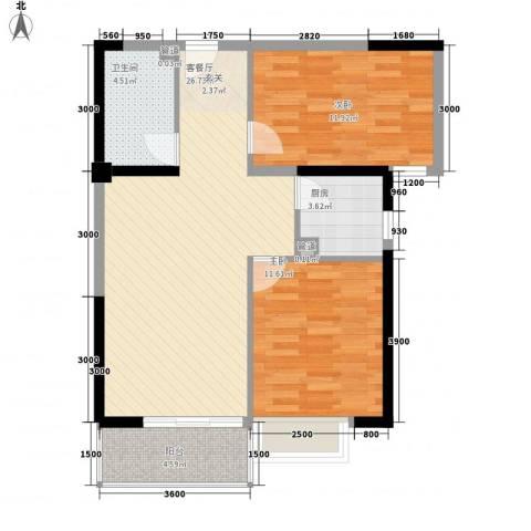 禹洲环东国际2室1厅1卫1厨63.12㎡户型图