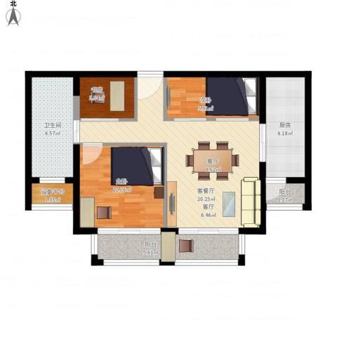 路劲天御3室1厅1卫1厨90.00㎡户型图