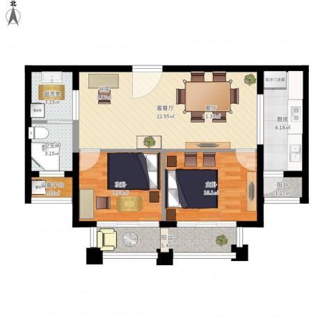 路劲天御2室2厅1卫1厨90.00㎡户型图
