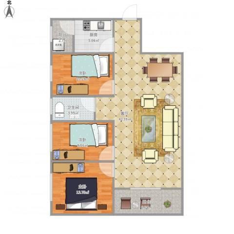 锦绣江南三期7204443室1厅1卫1厨125.00㎡户型图