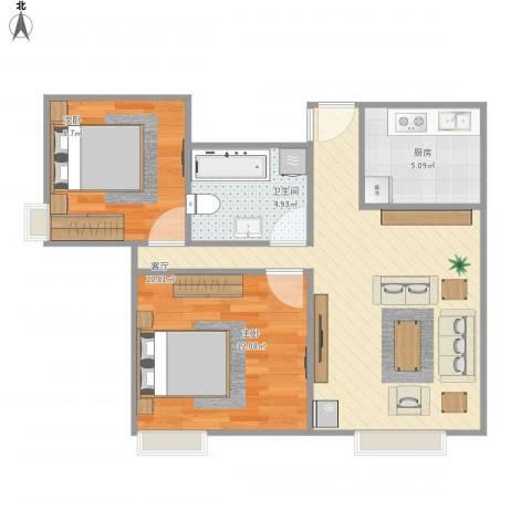 东方丽都2室1厅1卫1厨70.00㎡户型图