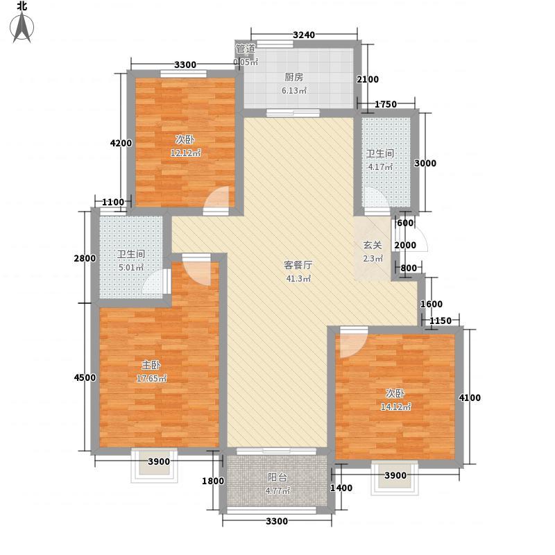 山水圣城138.63㎡一期小高层标准层A3户型3室2厅2卫1厨