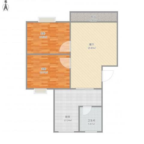 丽泽兰馨苑25号201室2室1厅1卫1厨80.00㎡户型图
