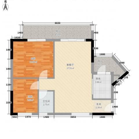 明日华府2室1厅1卫1厨71.00㎡户型图