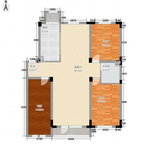 半山洋房3室1厅1卫1厨104.66㎡户型图