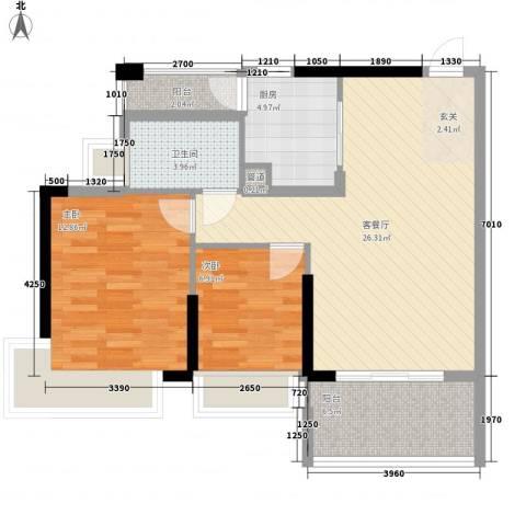 东港华府2室1厅1卫1厨86.00㎡户型图