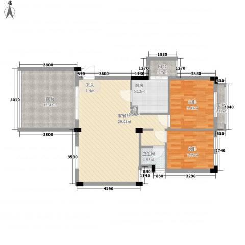 常平万科城2室1厅1卫1厨100.00㎡户型图