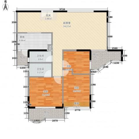 珠江旭景熙苑3室0厅2卫1厨117.00㎡户型图