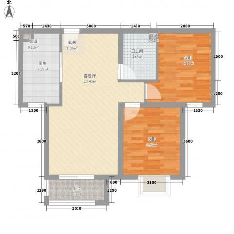 曲江汇景新都2室1厅1卫1厨80.00㎡户型图