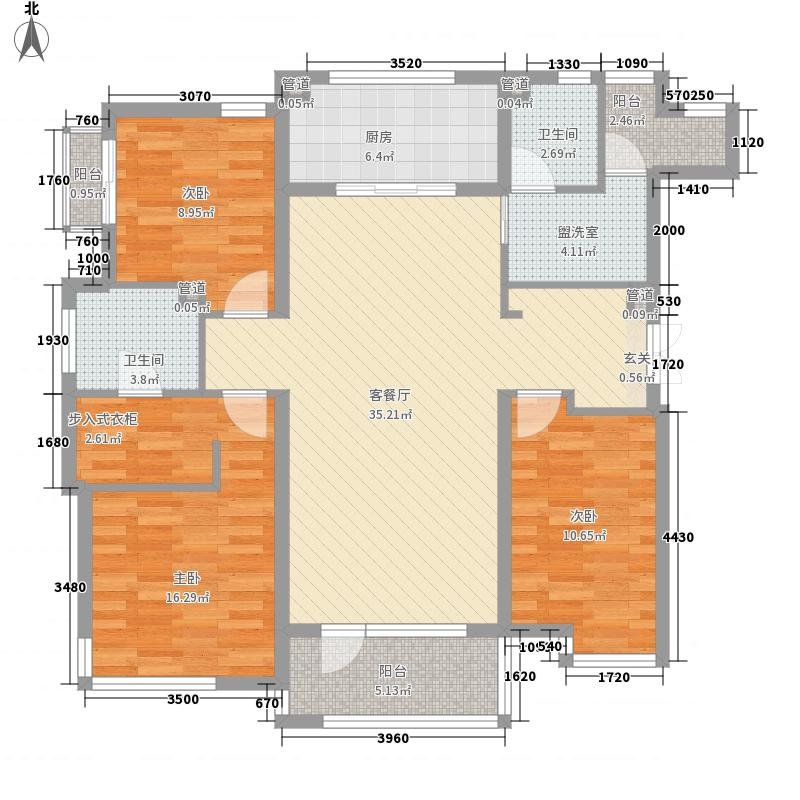 万科魅力之城138.00㎡10#楼空中宽庭户型3室2厅2卫1厨