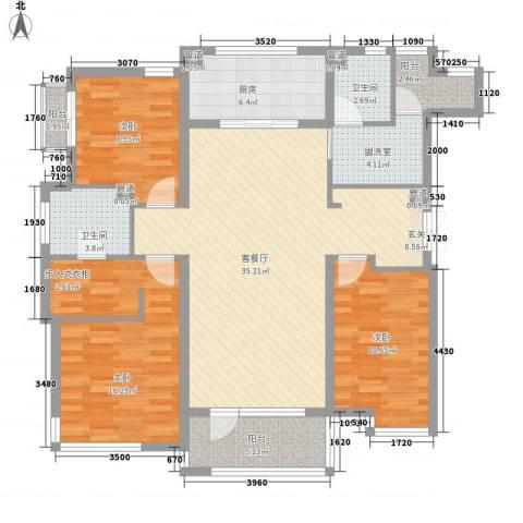 万科魅力之城3室2厅2卫1厨138.00㎡户型图