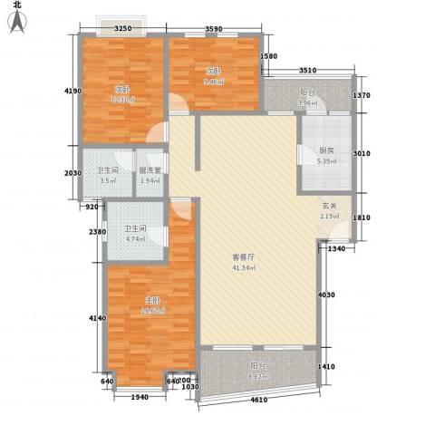 翰城国际3室1厅2卫1厨124.00㎡户型图