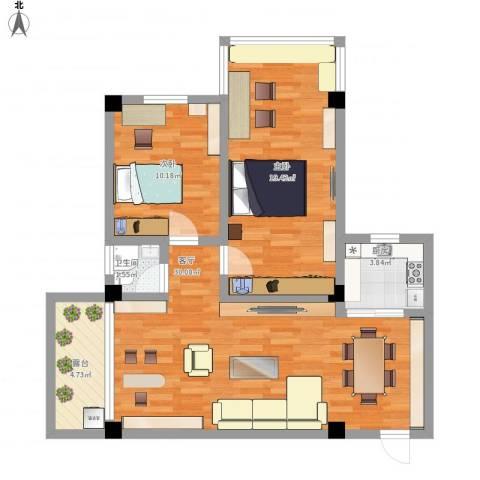 梅花园2室1厅1卫1厨100.00㎡户型图