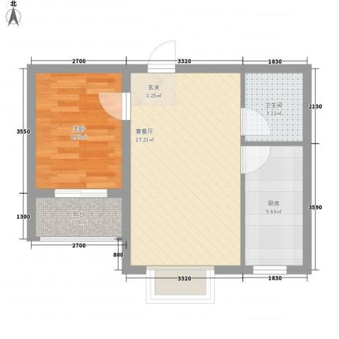 海韵馨园1室1厅1卫1厨53.00㎡户型图