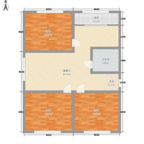 山海一家3室1厅1卫1厨146.00㎡户型图