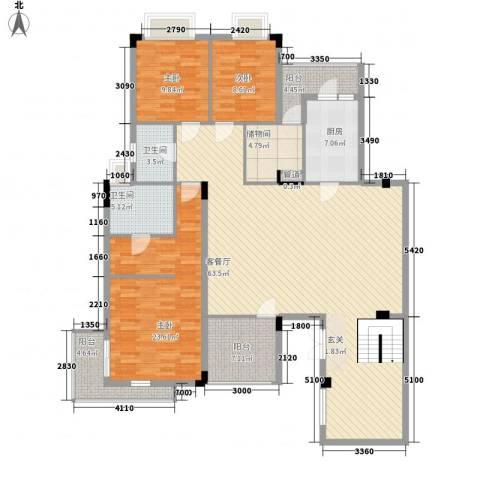 中惠郡庭3室1厅2卫1厨198.00㎡户型图
