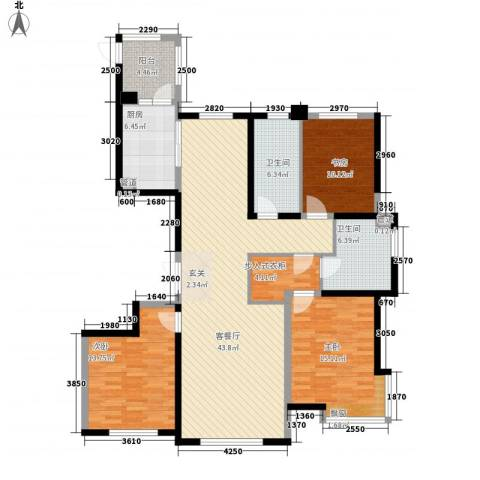 银河丽湾二期丽湾上品3室1厅2卫1厨160.00㎡户型图