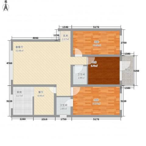 心月家园3室1厅2卫1厨103.68㎡户型图