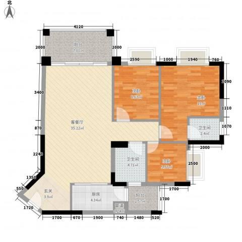 林苑花园3室1厅2卫1厨117.00㎡户型图