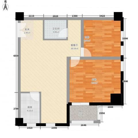 拿铁城2室1厅1卫1厨98.00㎡户型图