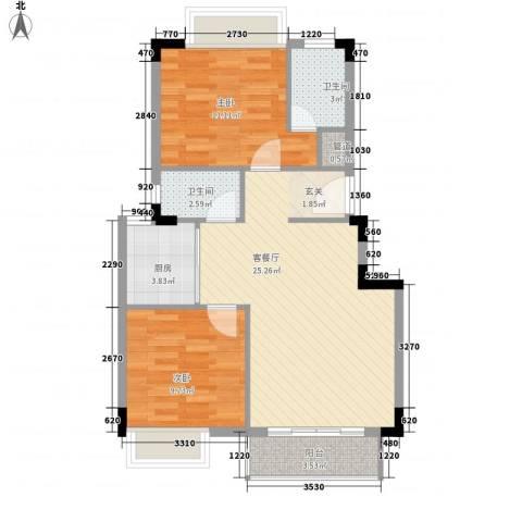 澳南雅苑2室1厅2卫1厨67.32㎡户型图