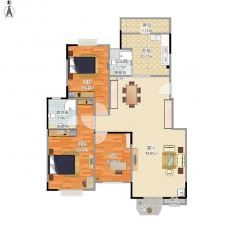 怡翠花园3室2厅1卫1厨150.00㎡户型图