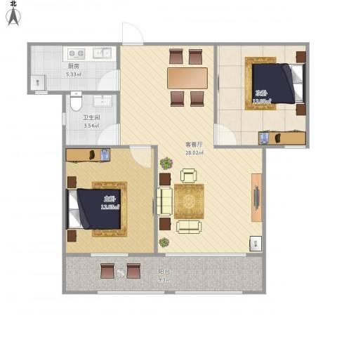 锦江华庭2室1厅1卫1厨95.00㎡户型图