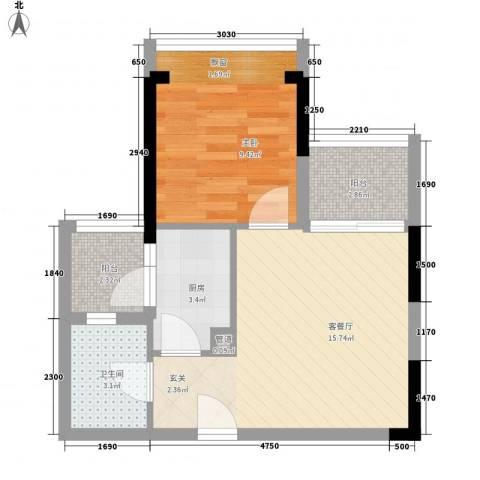 南城住宅1室1厅1卫1厨55.00㎡户型图