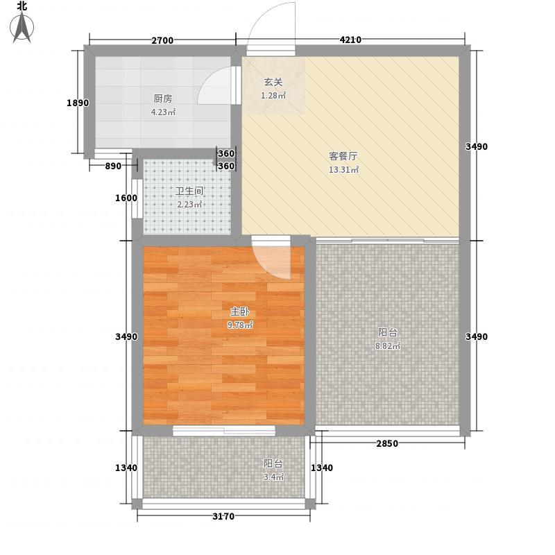 傲湖铂岸5.80㎡5#K户型1室1厅1卫1厨