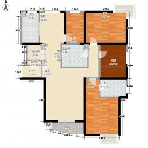 鸿运园4室1厅2卫1厨176.00㎡户型图