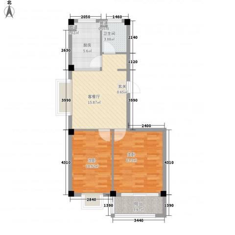 福里社区2室1厅1卫1厨60.00㎡户型图