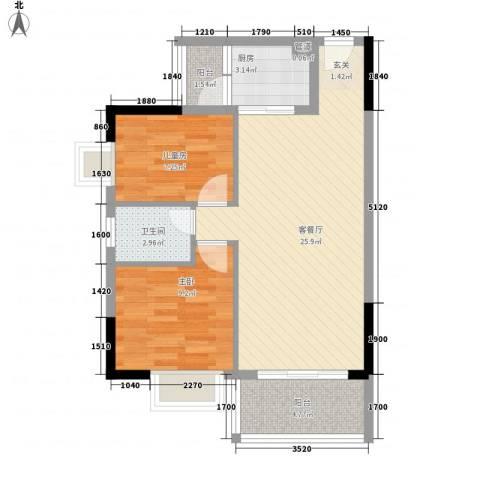 千禧嘉园2室1厅1卫1厨79.00㎡户型图