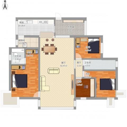 缙云小区4室2厅2卫1厨174.00㎡户型图