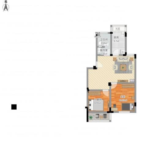 新安苑2室1厅1卫1厨57.01㎡户型图