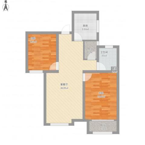 天鹅湖1号2室1厅1卫1厨91.00㎡户型图