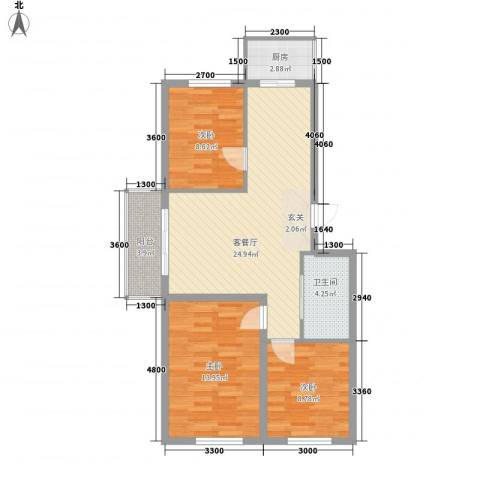 香槟小镇3室1厅1卫1厨95.00㎡户型图