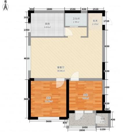 北美家园四期2室1厅1卫1厨92.00㎡户型图