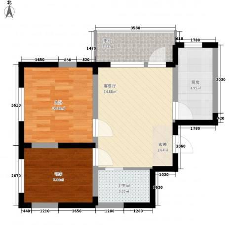 北美家园四期2室1厅1卫1厨66.00㎡户型图