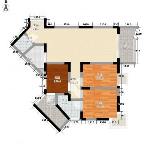 丽园新村3室1厅2卫1厨115.00㎡户型图