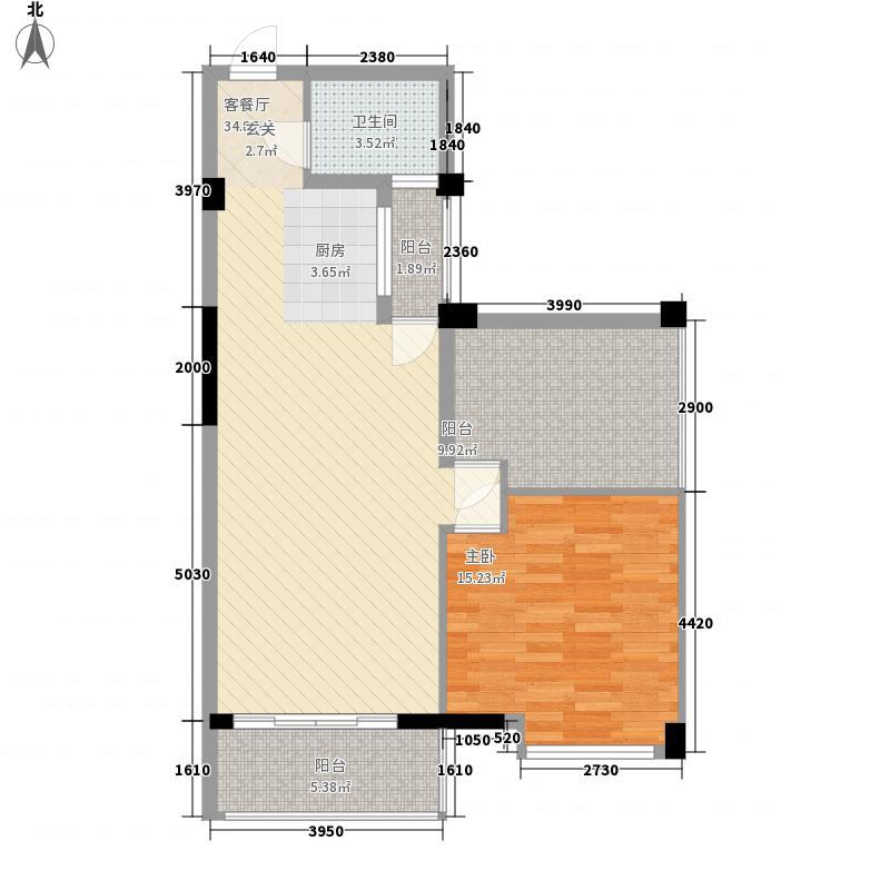 阳光叠彩78.46㎡6号楼C4户型2室2厅1卫