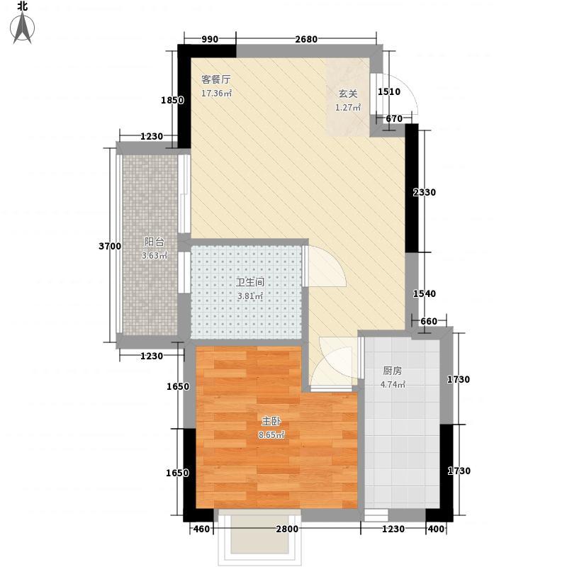 赛达国际5.21㎡2#4#B3户型1室2厅1卫1厨