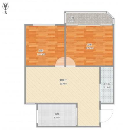 天赐苑2室1厅1卫1厨65.50㎡户型图
