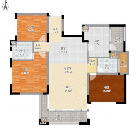 太湖锦园3室1厅2卫1厨172.00㎡户型图