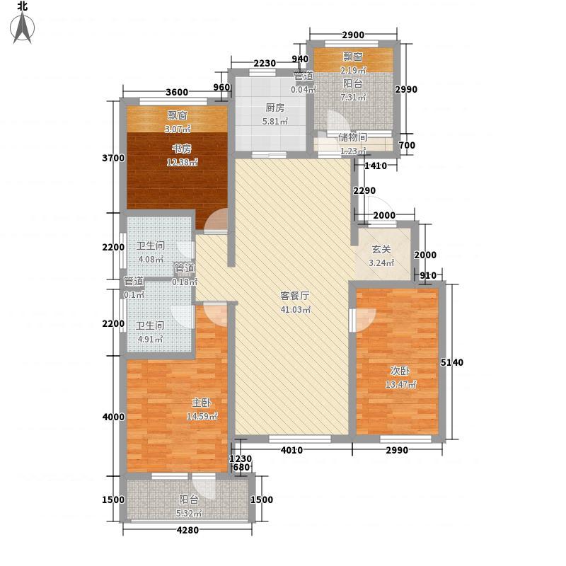 潮白河孔雀英国宫3室1厅2卫1厨158.00㎡户型图