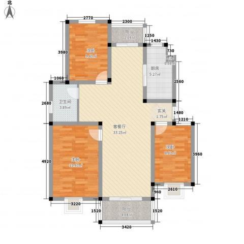 祥云北海公寓3室1厅1卫1厨93.60㎡户型图