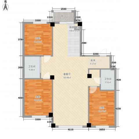 东城宜家3室1厅2卫0厨97.11㎡户型图